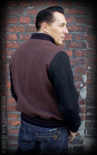 Baseball Jacket Portland - Herringbone brown/black