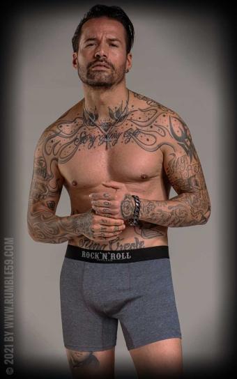 Boxershorts RnR Until I die - 3er Set, grau/schwarz