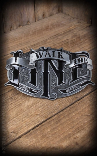 Set Leather belt Brando brown + Buckle I walk the line