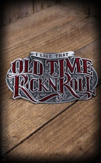 Set Leather belt Brando black + Buckle Old Time RocknRoll