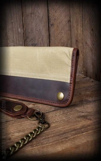 Canvas Leder Wallet - oliv oder beige
