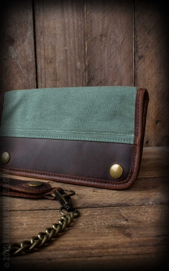 Canvas Leather Wallet - olive or beige
