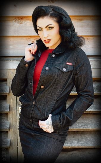 Ladies Jeansjacke - schwarz