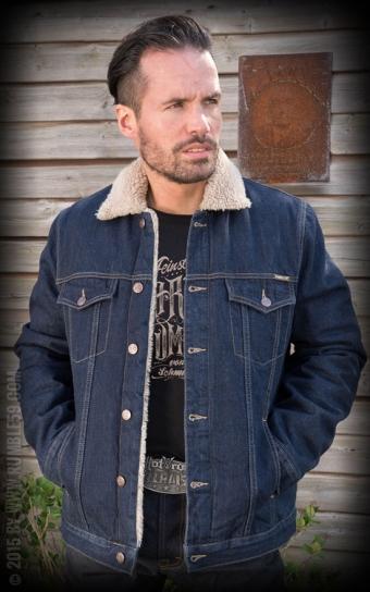 Male Denim Jacket with teddy-bear cloth