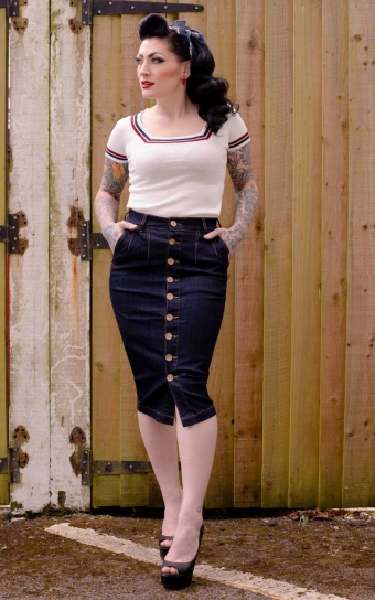 High-waisted Jeans Pencil Skirt - Second Skin