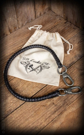 Lederkette | Leder Wallet Chain, schwarz geflochten
