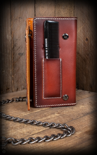 Leather Wallet Comb - sunburst handmade