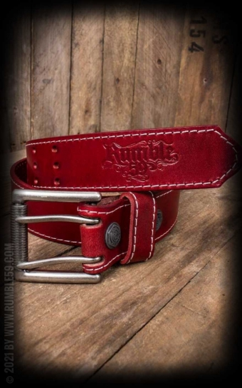 Leather belt with double prong buckle, red