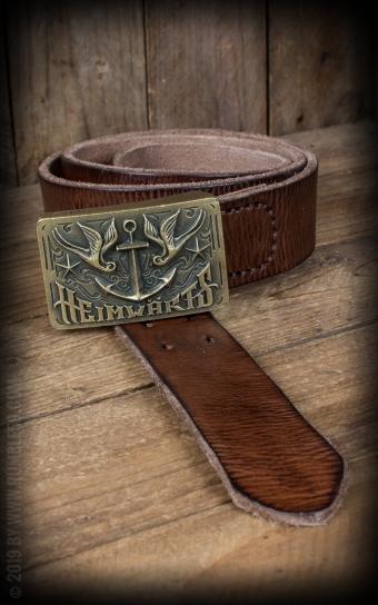 Leather belt with plaque buckle - Heimwärts