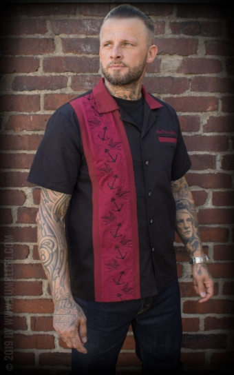 Lounge Shirt Swallows n Anchors - bordeaux