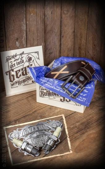 Set Leather belt Brando brown+Buckle Ignition