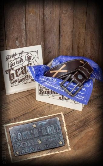 Set ceinture de cuir marlon brando, marron + boucle RocknRoll Forever - Vintage Patina