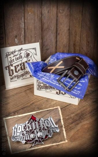 Set Leather belt Brando brown+Buckle RocknRoll Until I Die