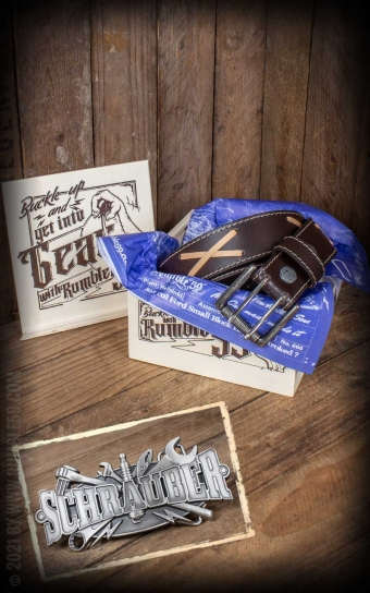 Set Leather belt Brando brown+Buckle Schrauber
