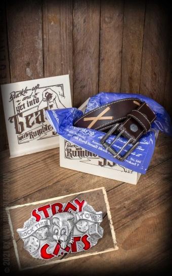Set ceinture de cuir marlon brando, marron +boucle Stray Cats - Rock this town