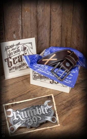 Set Leather belt Brando brown+Buckle Wild Wrench