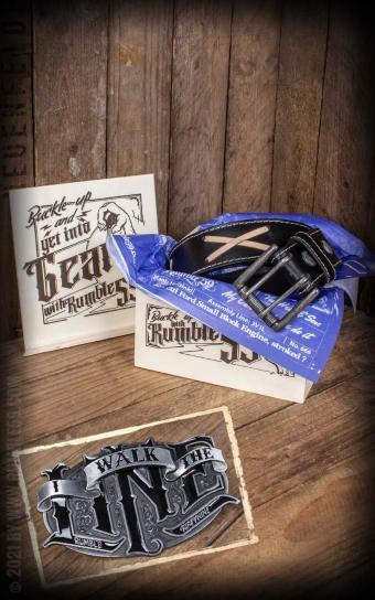 Set Leather belt Brando black + Buckle I walk the line