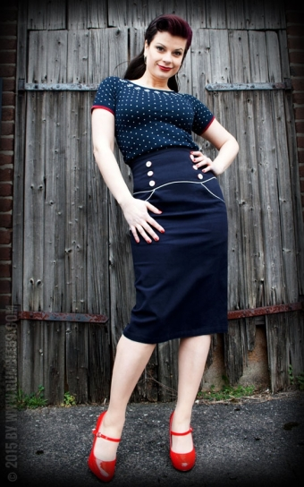 High Waisted Pencil Skirt Ahoi Sailor!
