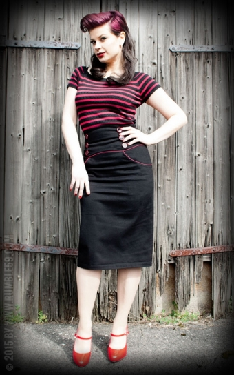 High Waisted Pencil Skirt - Red Line