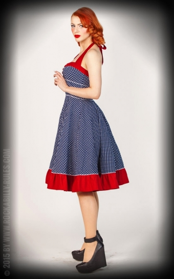 Neckholder Petticoatkleid Sweet Polkadots - dunkelblau