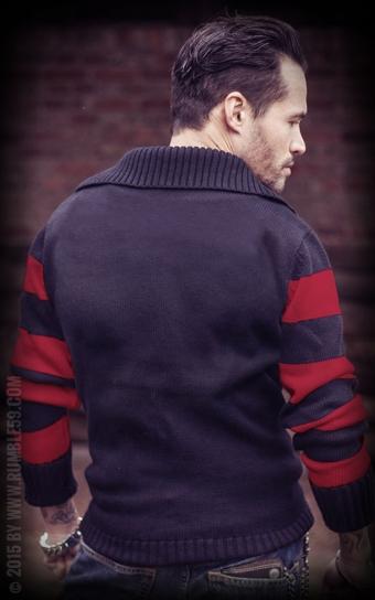 Racing Sweater Blanko - schwarz/rot