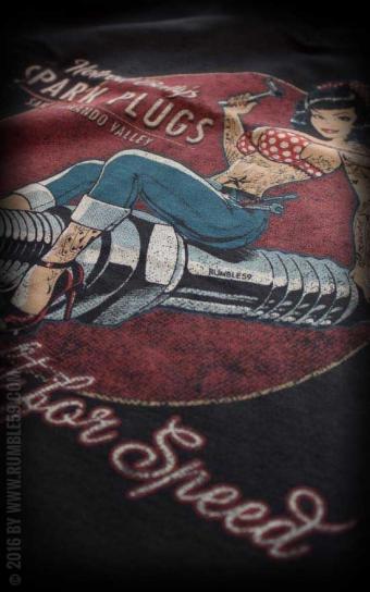 Ladies V-Neck Shirt Hotrod Bettys Spark Plugs