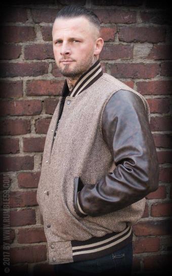 Baseball Jacket Monterey - Herringbone beige/brown