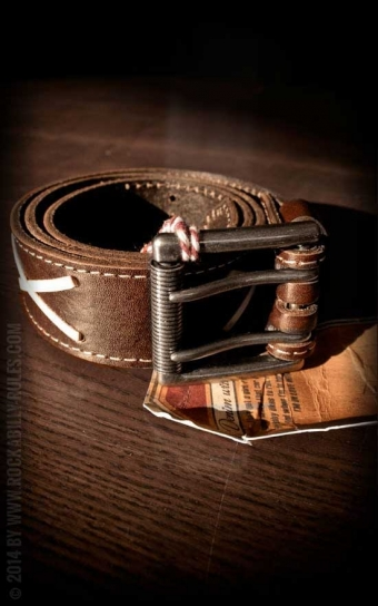 Set Leather belt Brando brown+Buckle RocknRoll Until I Die