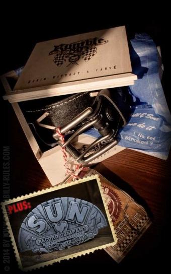 Set ceinture de cuir Marlon Brando noir+ boucle Sun Records Company