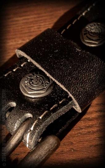 Set Leather belt Brando black+Buckle Schrauber