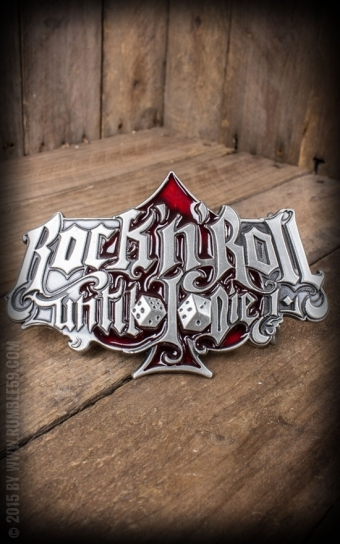 Set Ledergürtel Brando schwarz+Buckle RocknRoll Until I Die