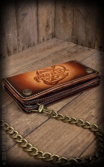 Cuir Wallet Ancre - sunburst fait main