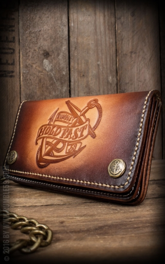 Leather Wallet Anchor - sunburst handmade