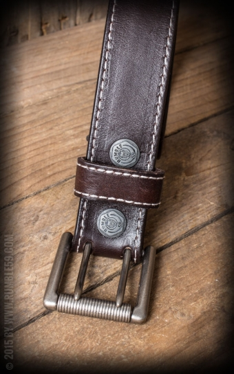 Ledergürtel mit Doppelsteg-Schnalle, braun