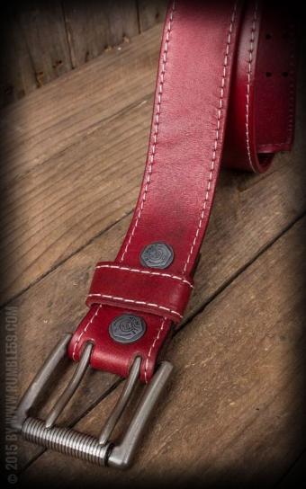 Ledergürtel mit Doppelsteg-Schnalle, rot