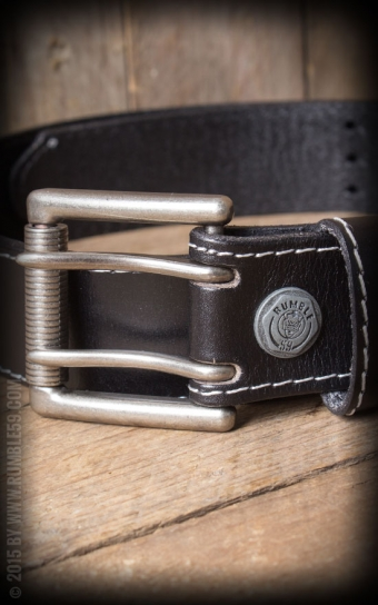 Leather belt with double-buckle, black