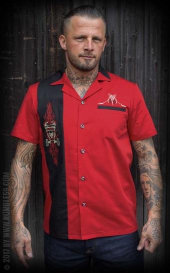 Lounge Shirt - Pinstripe Paradise - red