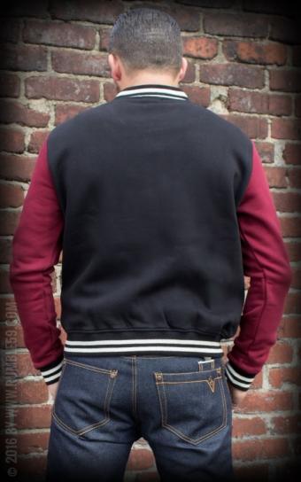 Herren Sweat College Jacke - schwarz/bordeaux