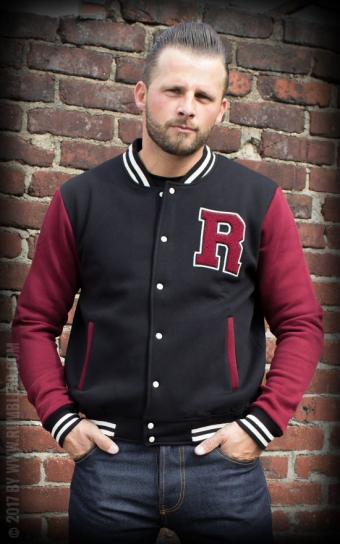 Male Sweat College Jacket - noir/bordeaux