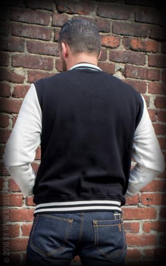 Herren Sweat College Jacke - schwarz/offwhite