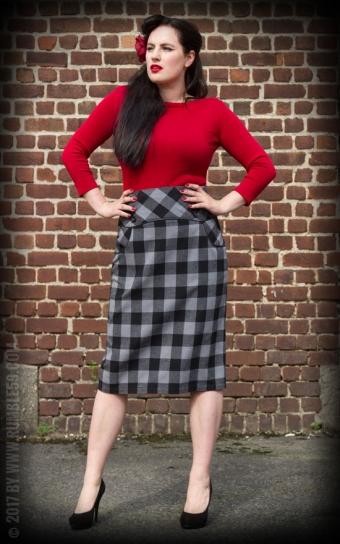 High Waisted Pencil Skirt - plaid
