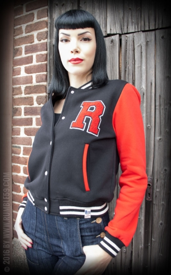 Ladies Sweat College Jacke - schwarz/rot