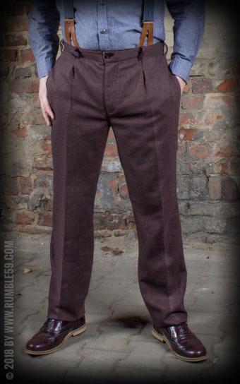 Vintage Slim Fit Pants Pasadena - Chevron marron/bleu