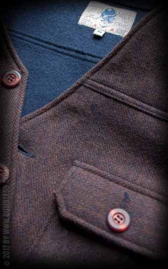 Vintage Vest Boston - Herringbone brown/blue