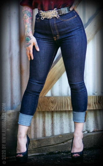 Ladies Denim - High-waisted Skinny Jeans - Second skin
