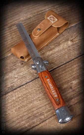 Rumble59 - Springmesser-Kamm mit Ledertasche
