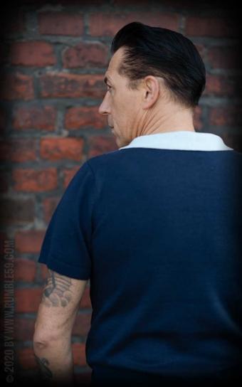 Strick-Poloshirt Portland - blau