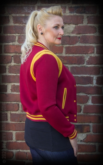 Ladies Sweat College Jacke - bordeaux/senf