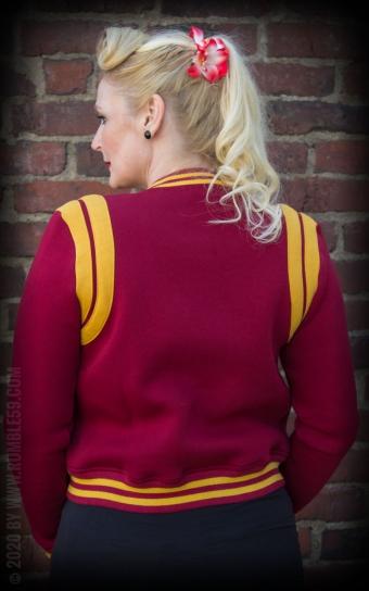 Ladies Sweat College Jacket - bordeaux/moutarde