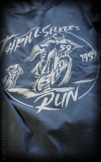 T-Shirt Thrill-Seekers Run - Vintage-Wash, blau
